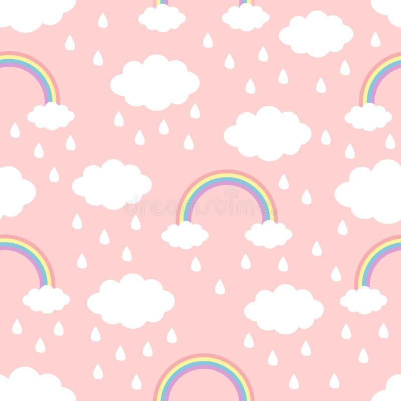 Modelo inconsútil Gota de lluvia del arco iris de la nube en el cielo Decoración divertida de los niños del bebé del kawaii lindo ilustración del vector