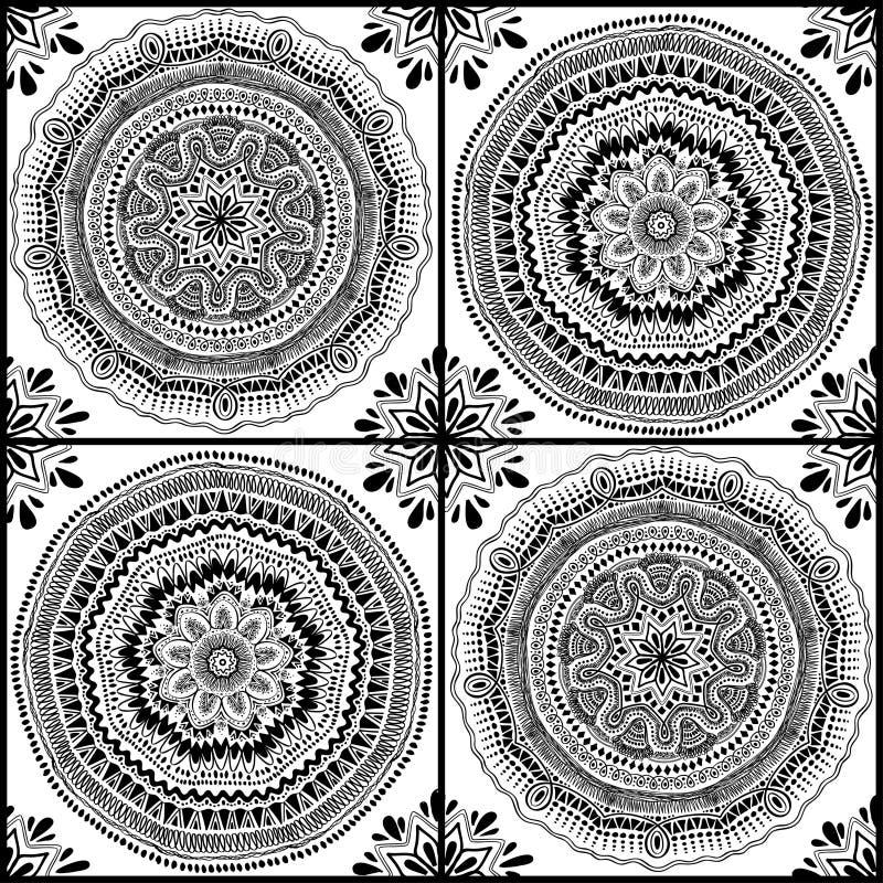 Modelo inconsútil gráfico de Mandala Ornaments ilustración del vector
