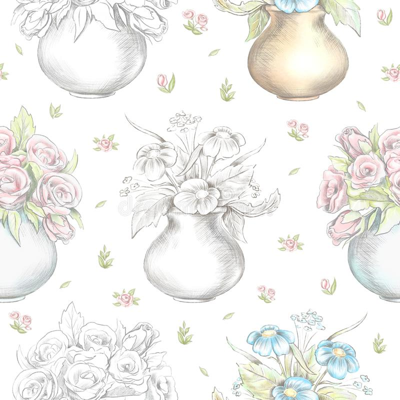 Modelo inconsútil gráfico del lápiz de la acuarela y de ventaja con las flores en floreros stock de ilustración