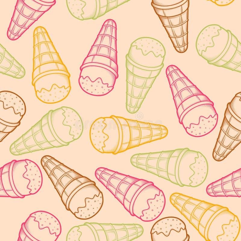 Modelo inconsútil gráfico detallado del cono de helado Esquemas coloridos Fondo ligero stock de ilustración