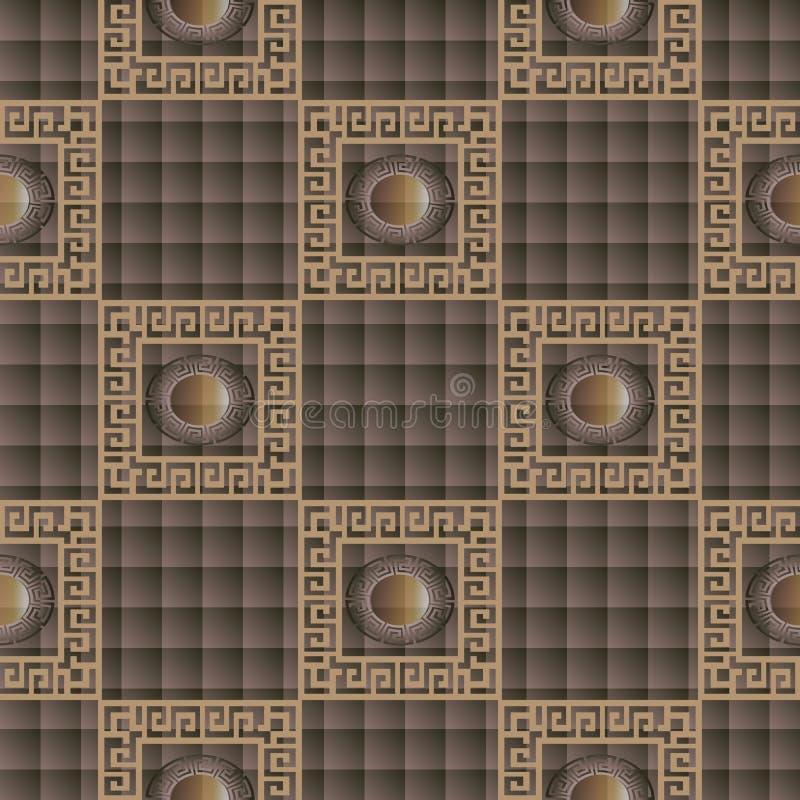 Modelo inconsútil griego a cuadros del marrón 3d Compruebe el texto ornamental stock de ilustración