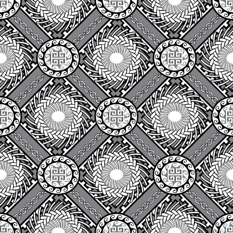 Modelo inconsútil griego geométrico blanco y negro Vector moderno stock de ilustración