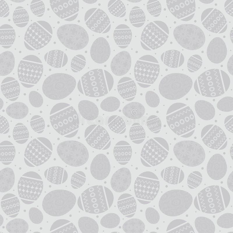 Modelo inconsútil gris con los huevos de Pascua adornados - vector de pascua libre illustration
