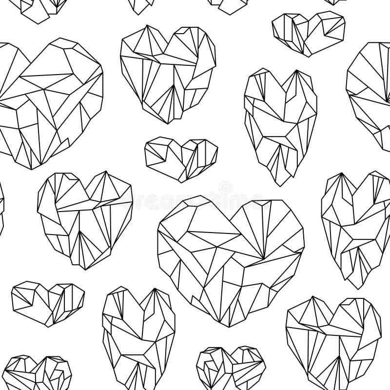 Modelo inconsútil hecho de cristales en forma de corazón minerales stock de ilustración