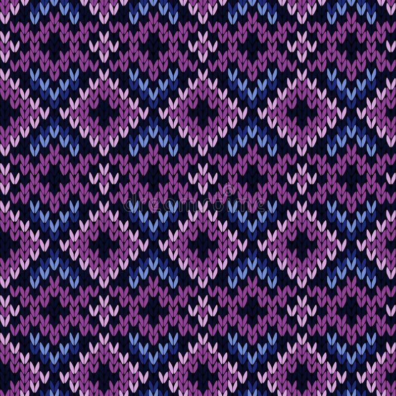 Modelo inconsútil hecho punto en púrpura y azul stock de ilustración