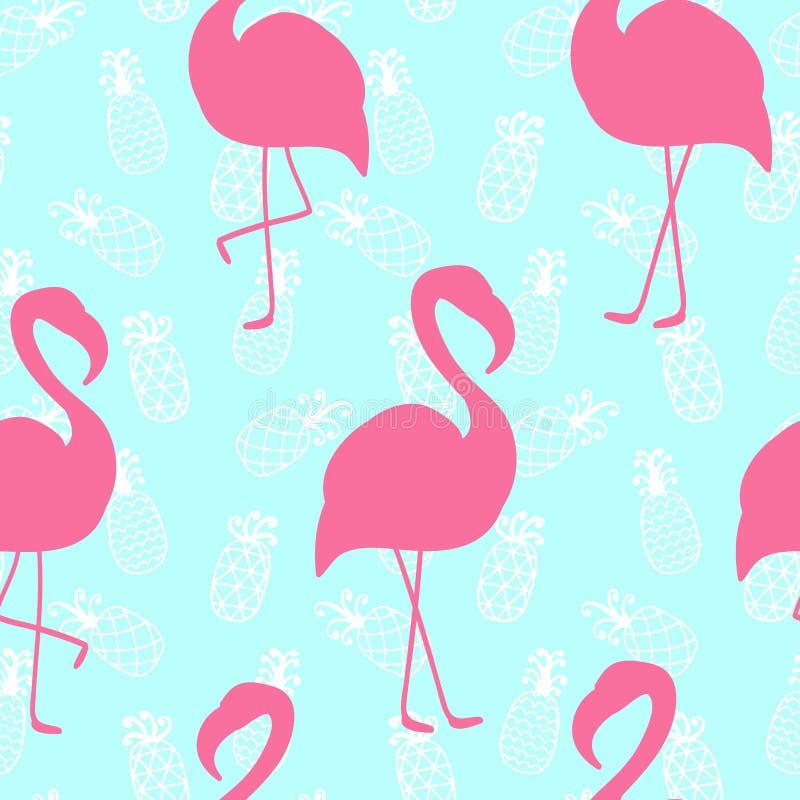 Modelo inconsútil hermoso con el flamenco rosado en fondo de la piña de la menta libre illustration