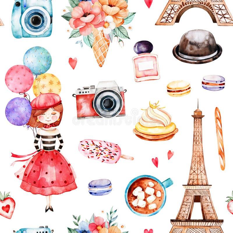 Modelo inconsútil hermoso con la torre Eiffel, cámara, dulces stock de ilustración