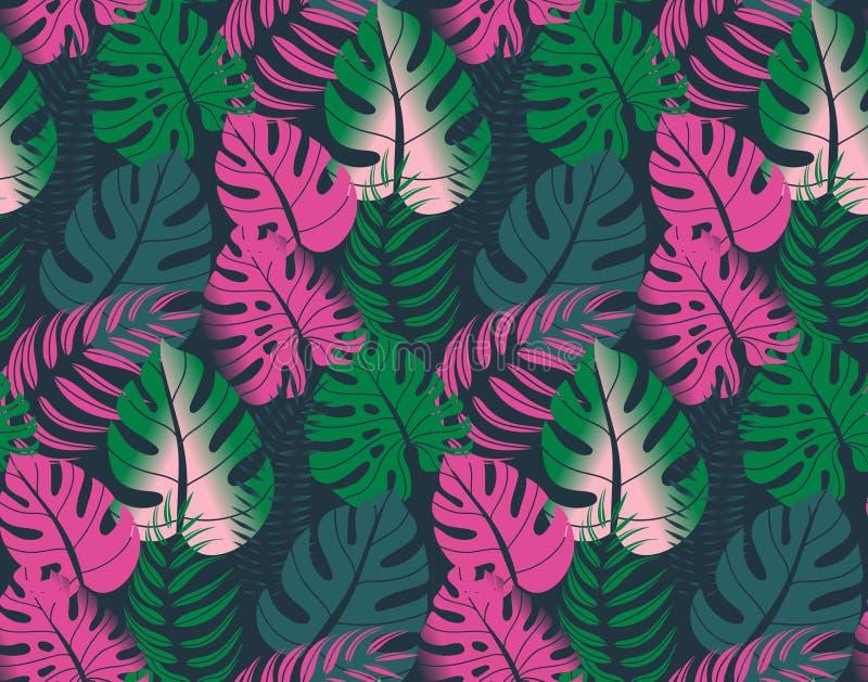 Modelo inconsútil hermoso con las hojas de palma ropical de la selva stock de ilustración