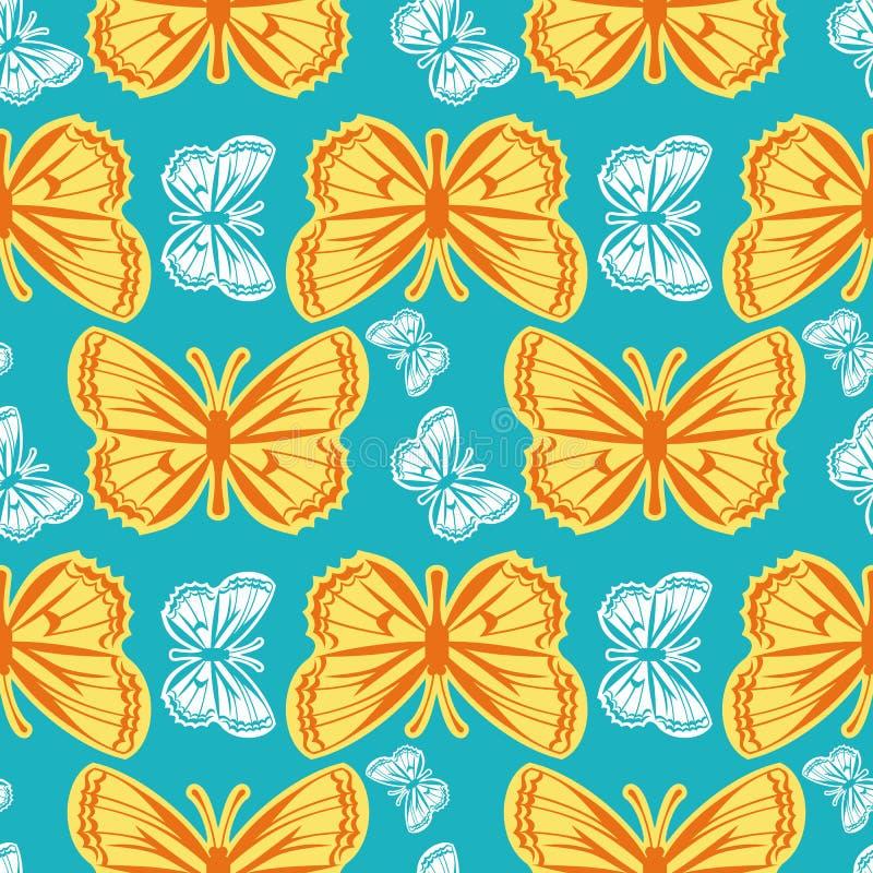 Modelo inconsútil hermoso con las mariposas stock de ilustración
