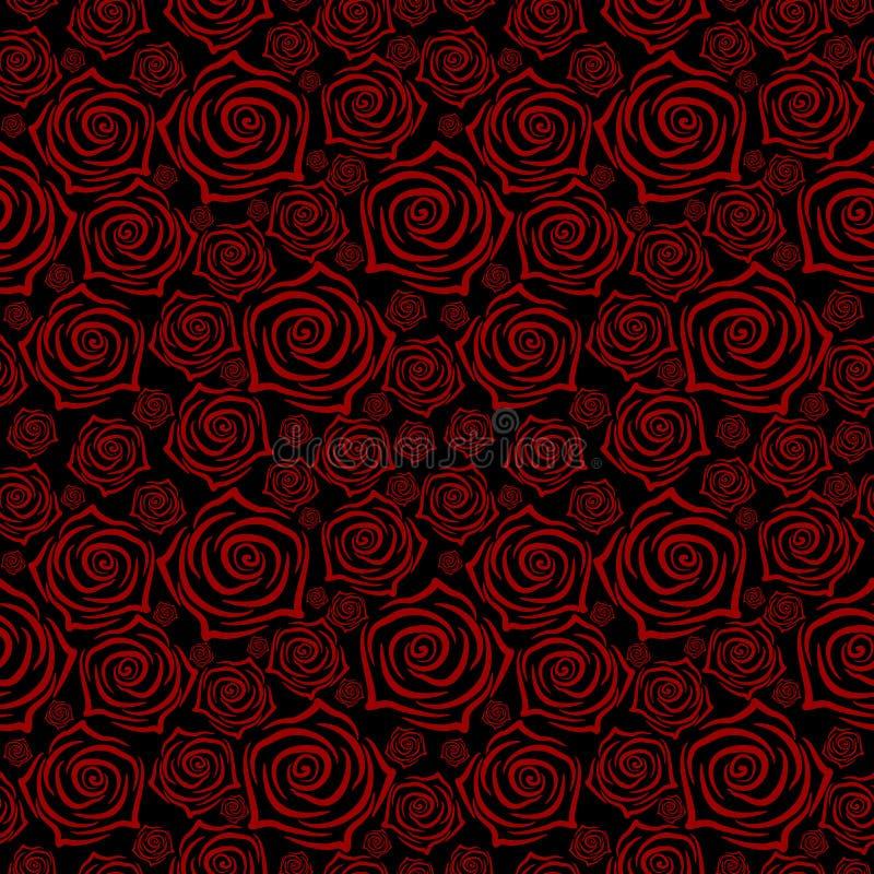 Modelo inconsútil hermoso con las rosas rojas en fondo negro Ilustración del vector stock de ilustración
