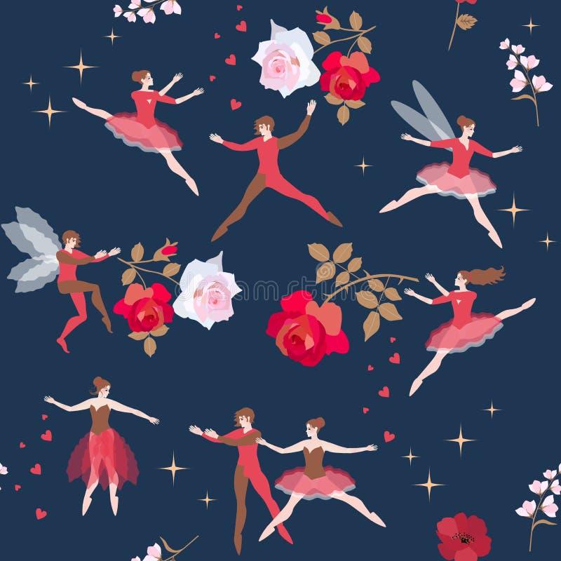 Modelo inconsútil hermoso con los bailarines mágicos y las flores color de rosa en cielo estrellado Cuento de hadas Ballet románt stock de ilustración