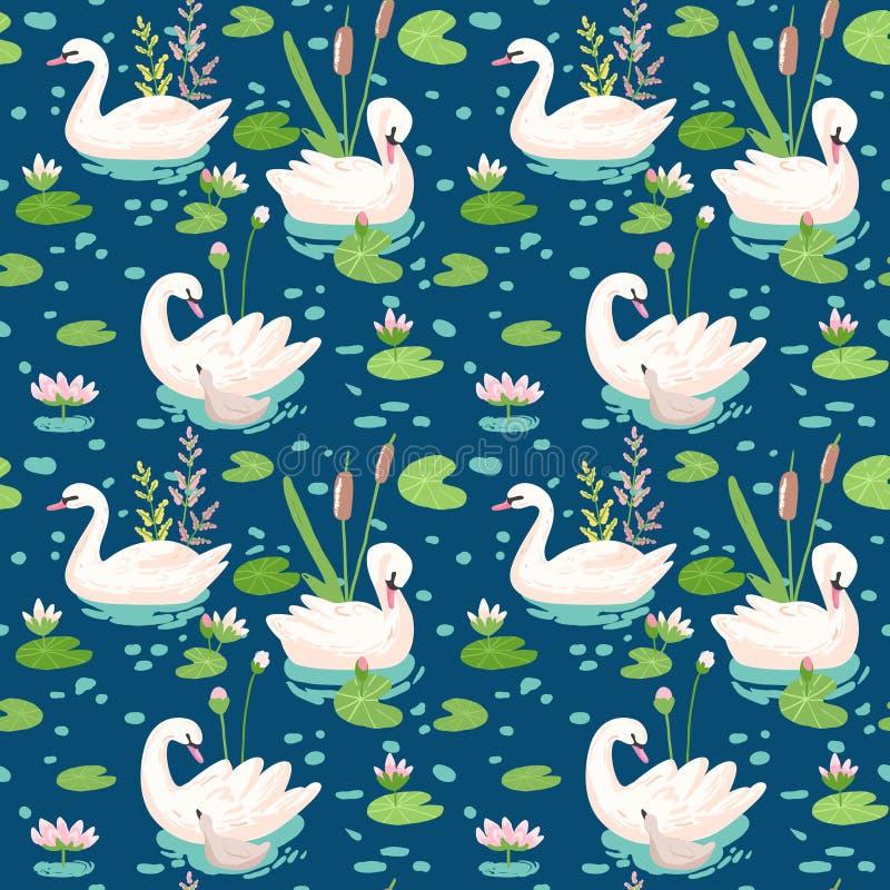 Modelo inconsútil hermoso con los cisnes y agua blancos Lillies, uso para el fondo del bebé, impresiones de la materia textil, cu libre illustration