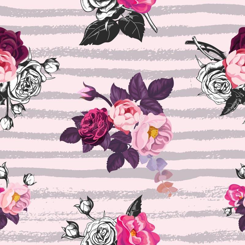 Modelo inconsútil hermoso con los manojos mitad-coloreados de flores color de rosa salvajes contra fondo rosado con horizontal gr stock de ilustración