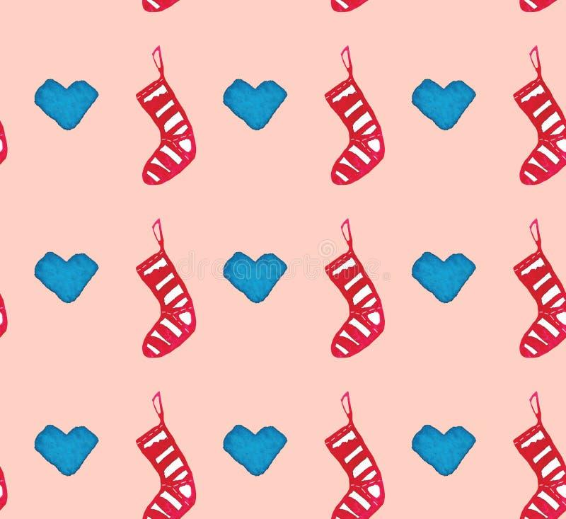 Modelo inconsútil hermoso de la acuarela de la Navidad con los calcetines y los corazones stock de ilustración
