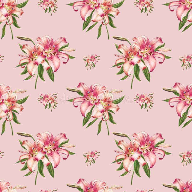 Modelo inconsútil hermoso del lirio del blanco y del rosa Ramo de flores Impresi?n floral Dibujo del marcador stock de ilustración