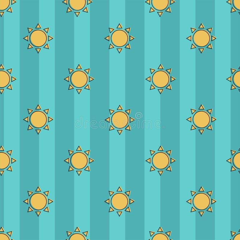 Modelo inconsútil hermoso del vector del sol en un fondo azul rayado ilustración del vector