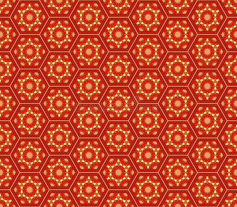 Modelo inconsútil hexagonal rojo del amarillo anaranjado del estilo de Oriente Medio stock de ilustración
