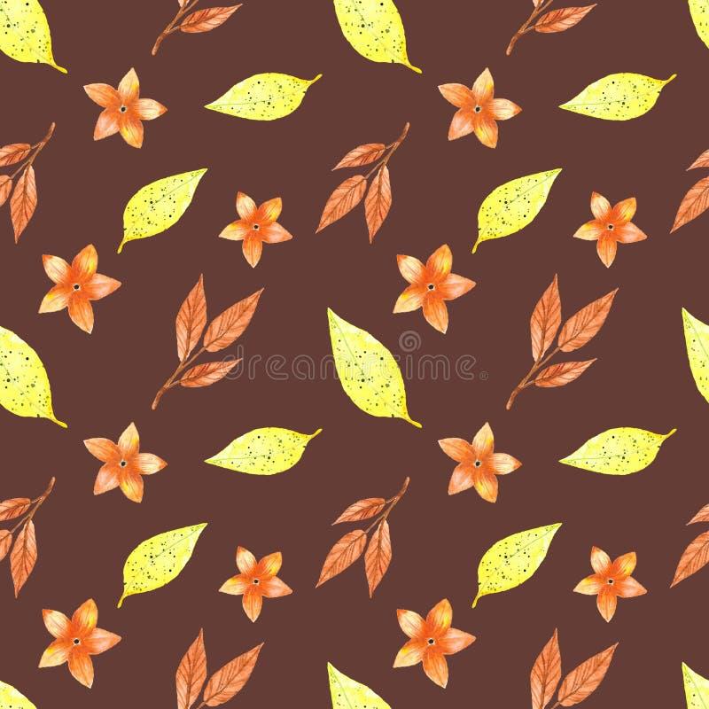 Modelo inconsútil, hojas amarillas del otoño stock de ilustración