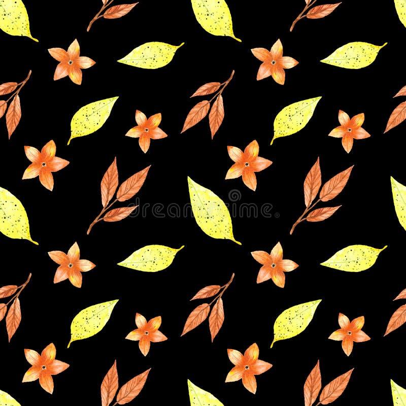 Modelo inconsútil, hojas amarillas del otoño libre illustration
