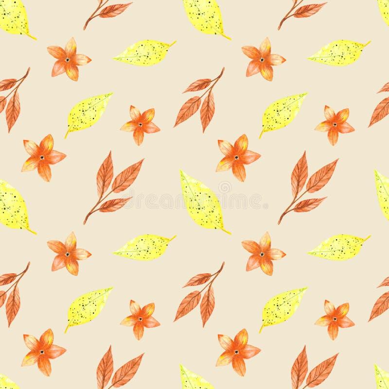 Modelo inconsútil, hojas amarillas del otoño ilustración del vector