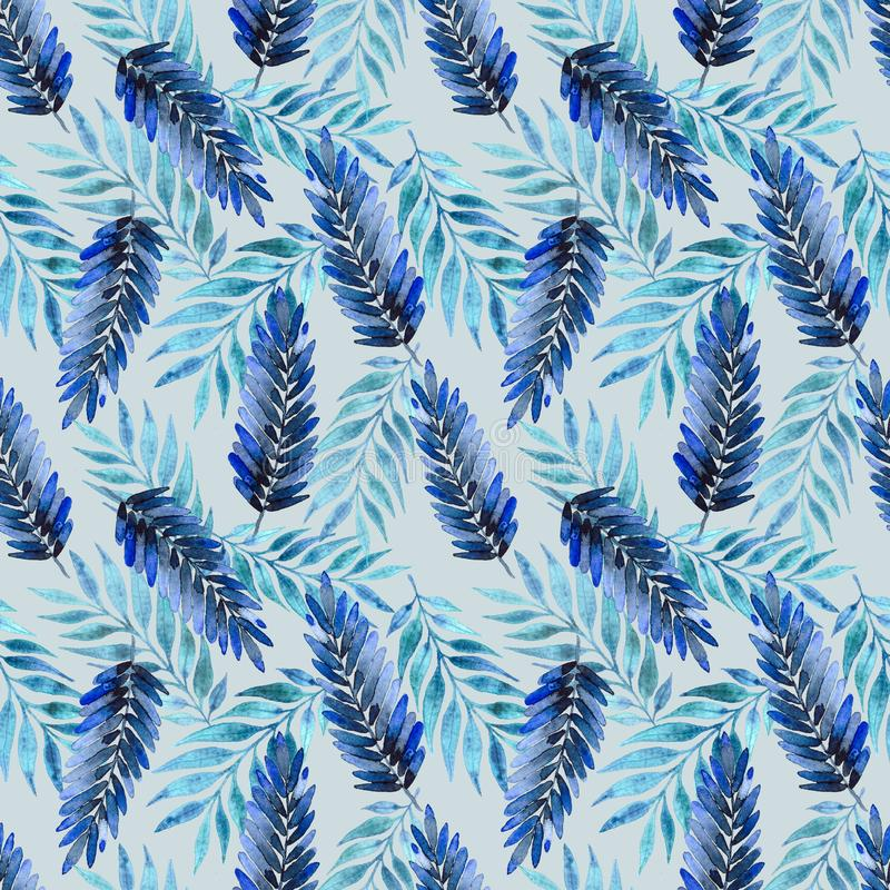 Modelo inconsútil, hojas azul marino ilustración del vector