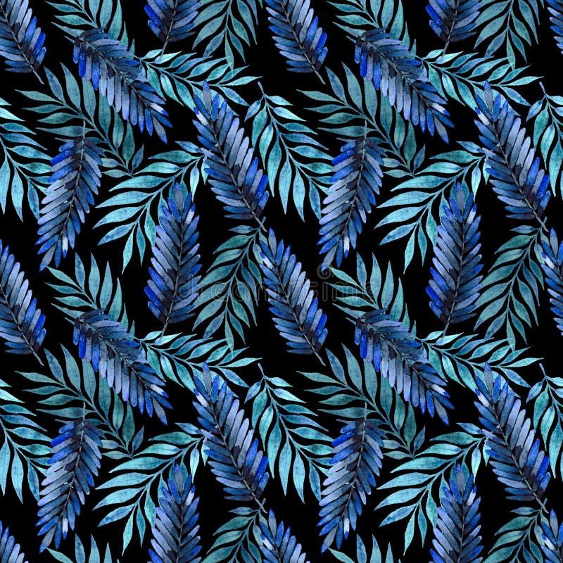 Modelo inconsútil, hojas azul marino stock de ilustración
