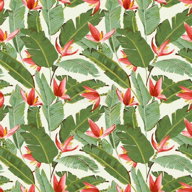 Modelo inconsútil Hojas de palma y fondo tropicales de las flores libre illustration