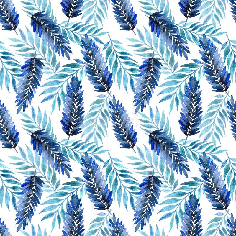 Modelo inconsútil, hojas tropicales azules ilustración del vector