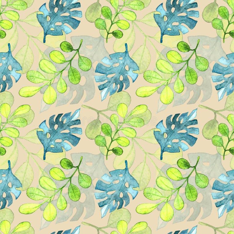 Modelo inconsútil, hojas tropicales del frash stock de ilustración