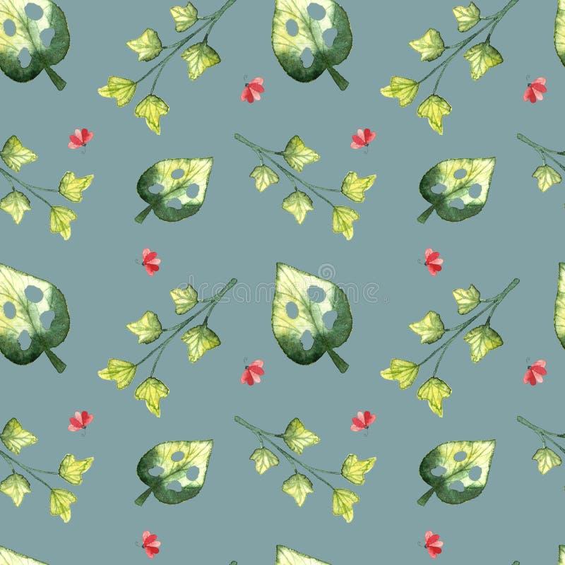 Modelo inconsútil, hojas tropicales del frash ilustración del vector