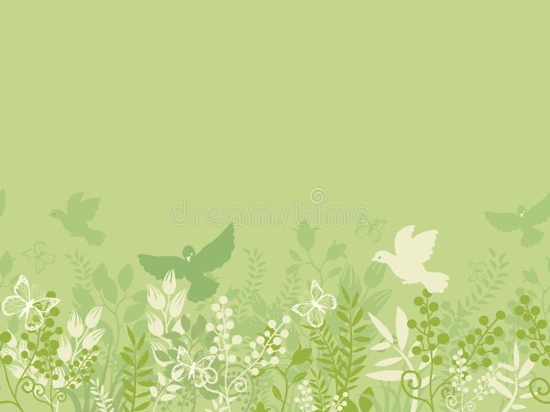 Modelo inconsútil horizontal de la naturaleza verde ilustración del vector