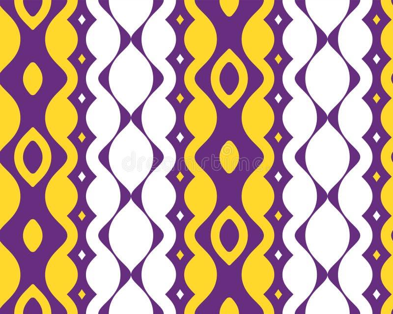 Modelo inconsútil horizontal de la primera forma azul púrpura amarilla abstracta de Etpa ilustración del vector