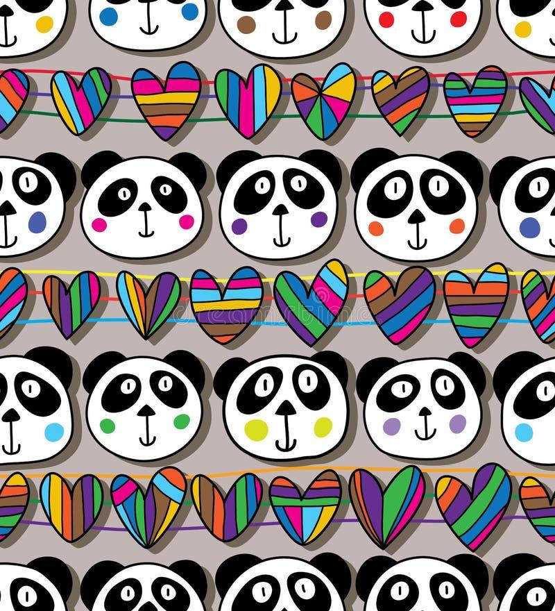 Modelo inconsútil horizontal del amor principal de la panda stock de ilustración