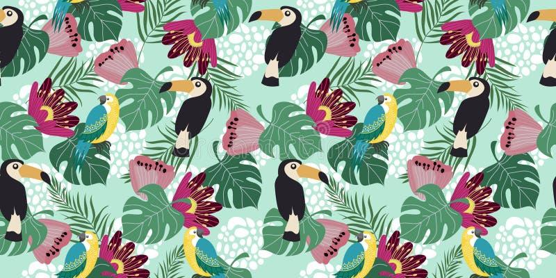 Modelo inconsútil horizontal exhausto de la mano con los pájaros, las flores y las hojas tropicales en fondo azul Vector plano stock de ilustración