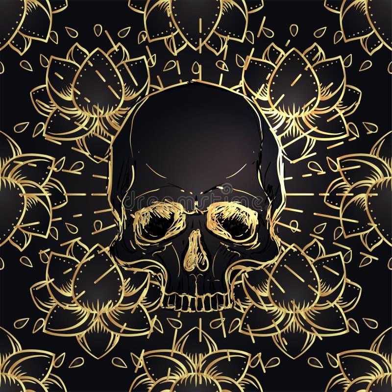 Modelo inconsútil humano del cráneo y de Lotus Geometría sagrada Símbolo de Ayurveda de la armonía y de la balanza Diseño de la c stock de ilustración