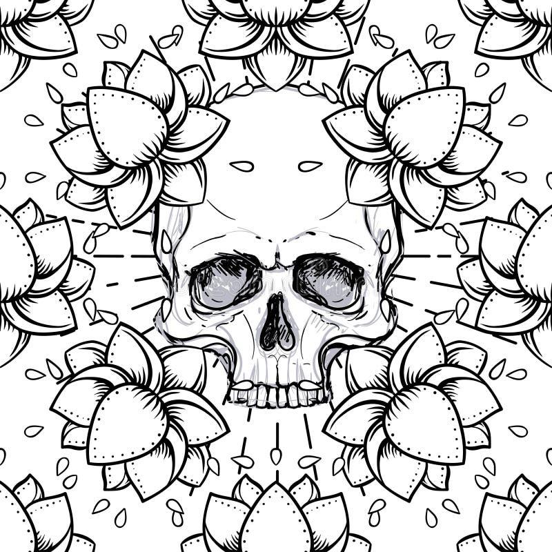 Modelo inconsútil humano del cráneo y de Lotus Geometría sagrada Símbolo de Ayurveda de la armonía y de la balanza Diseño de la c libre illustration