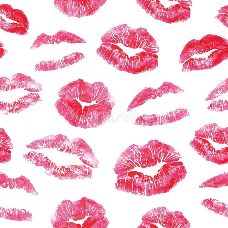 Modelo inconsútil - impresiones rojas de los besos de los labios ilustración del vector