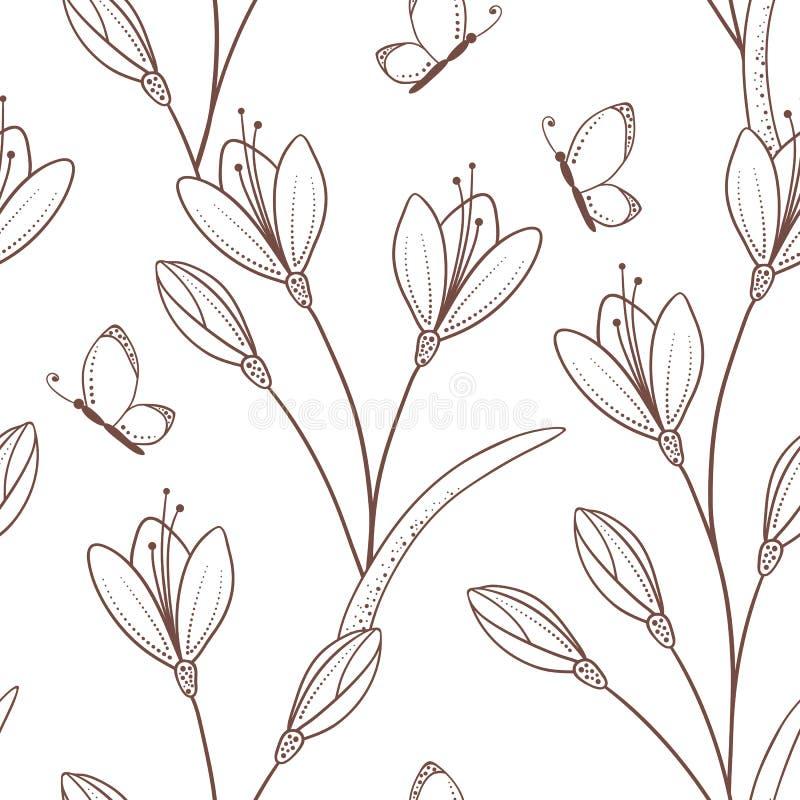 Modelo inconsútil incompleto con las flores y la mariposa ilustración del vector