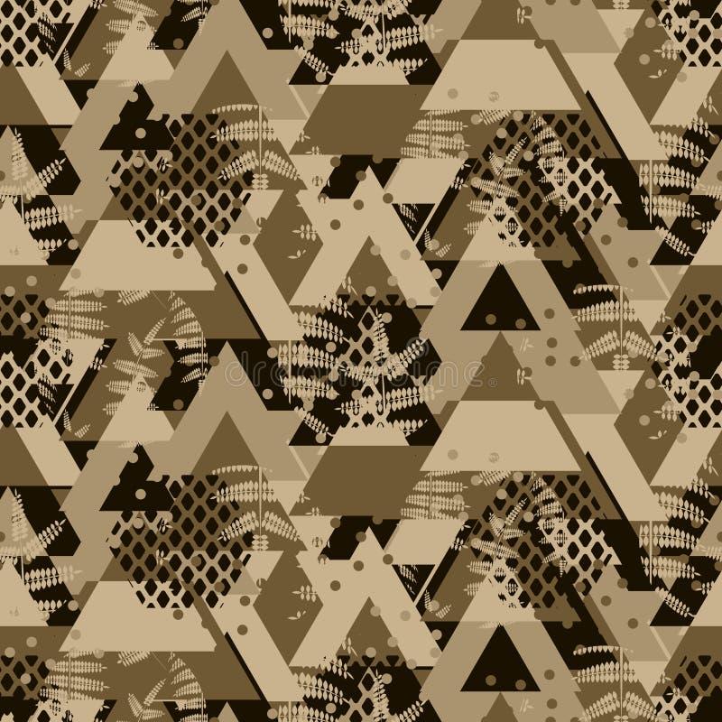 Modelo inconsútil intrépido del vector del helecho marrón del camo del triángulo stock de ilustración