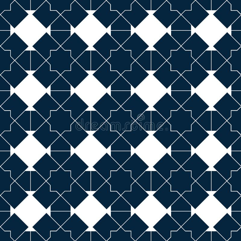 Modelo inconsútil islámico del vector Ornamentos geométricos blancos basados en arte árabe tradicional Mosaico musulmán oriental ilustración del vector