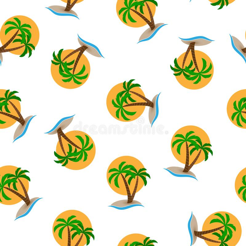 Modelo inconsútil, isla con las palmeras en el mar en el fondo del sol libre illustration