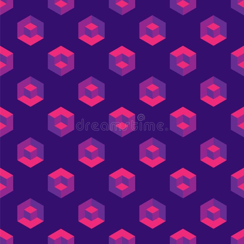 Modelo inconsútil isométrico con los cubos de la ilusión óptica stock de ilustración