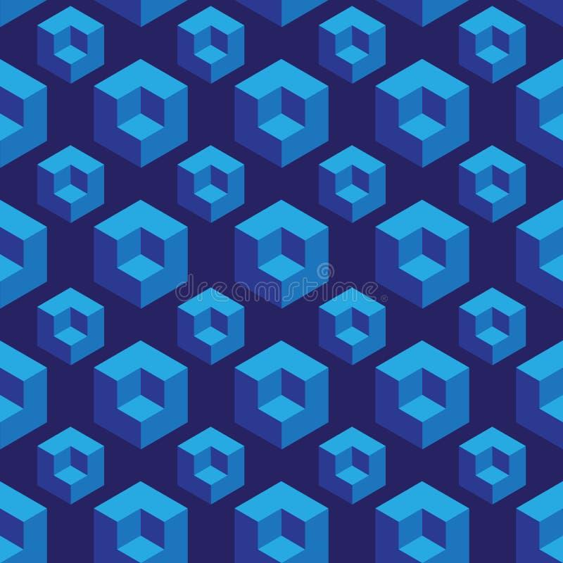 Modelo inconsútil isométrico con los cubos de la ilusión óptica ilustración del vector