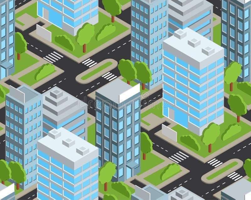 Modelo inconsútil isométrico de la ciudad del día libre illustration
