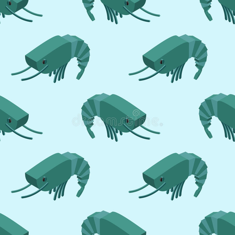 Modelo inconsútil isométrico del camarón Ornamento marino del plancton Ani stock de ilustración