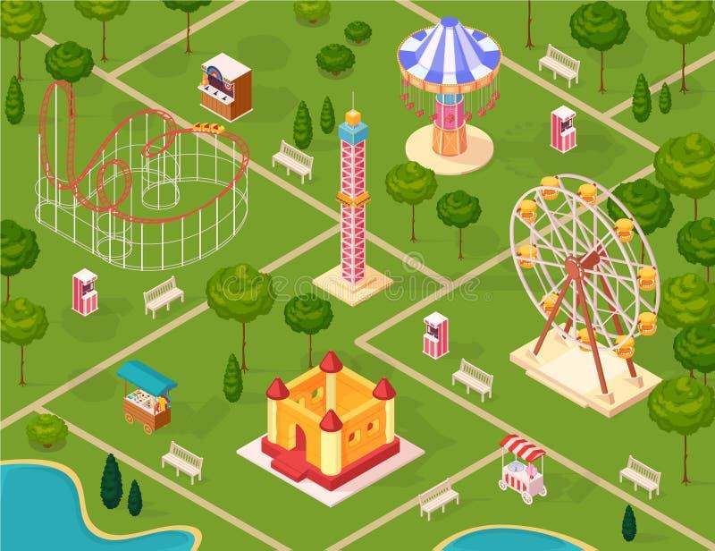 Modelo inconsútil isométrico del parque de atracciones libre illustration