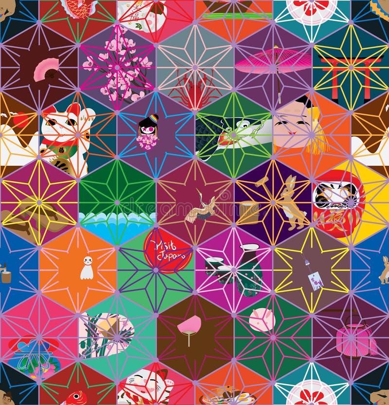 Modelo inconsútil japonés del color de estrella del hexágono stock de ilustración