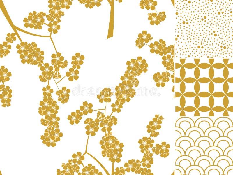 Modelo inconsútil japonés fijado con los ornamentos tradicionales libre illustration