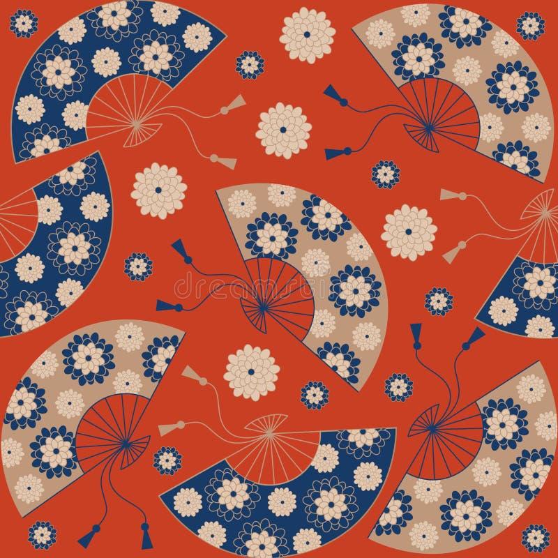 Modelo inconsútil japonés Fondo floral japonés con la fan japonesa stock de ilustración
