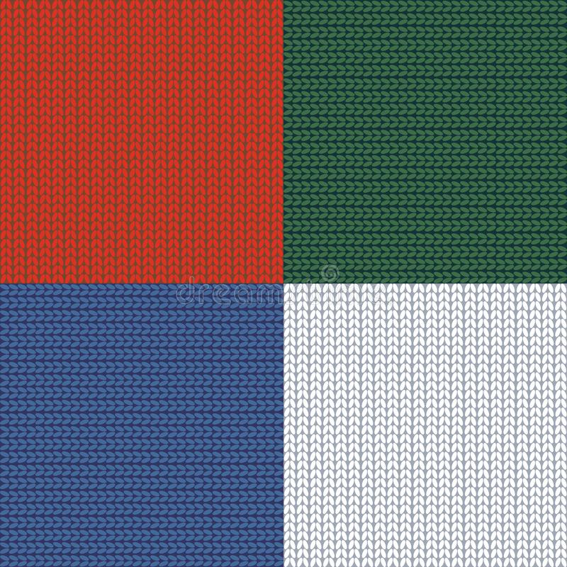 Modelo inconsútil knitting plaid remiendo hilado Fondo hecho punto de las lanas Blanco rojo del verde azul Vector ilustración del vector